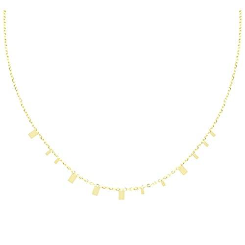 Colgante, collar, moda geométrica, cuadrado, gota de agua, encanto, cadena de eslabones colgantes, collares de joyería femenina de aleación de oro bohemio