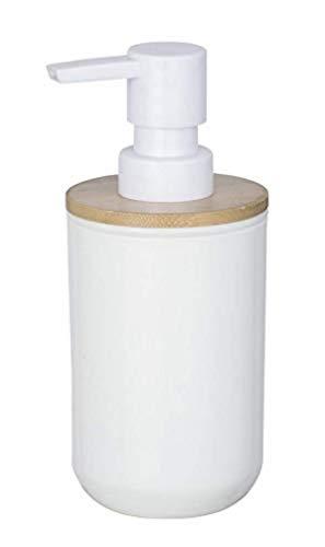 WENKO Dosificador de jabón Posa blanco - Dispensador de jabón líquido Capacidad: 0.33 l, Plástico, 7 x 16.5 x 8 cm, Blanco