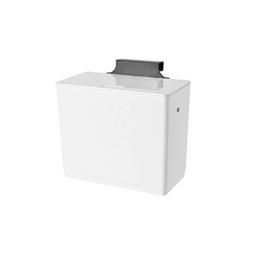 KLYHCHN Große Kapazität mit Deckeln Can Be Hung Deodorant Kunststoff Trash Can Küche Schlafzimmer Büro Wand-Desktop-Papierkorb Schrank Badezimmer WC Lagerung Classification (weiß)
