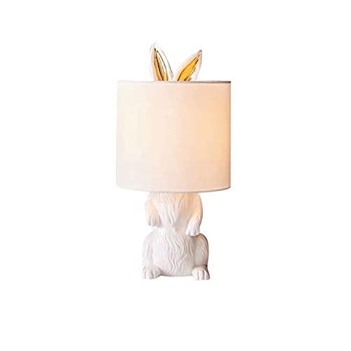 Lámpara de mesa Lámpara de mesa de resina moderna, pequeña lámpara de lápiz de conejo blanca blanca Lámpara de escritorio para la cama para sala de estar dormitorios Lámpara de Mesita de Noche