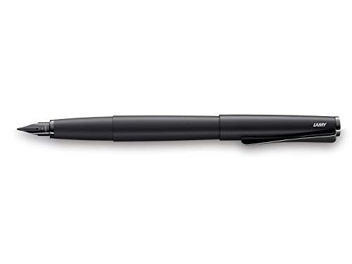 LAMY studio Füllhalter 066 - Füller aus rostfreiem Edelstahl, in schwarzem Softlack-Finish mit einem außergewöhnlichen propellerförmigen Clip – Federstärke M