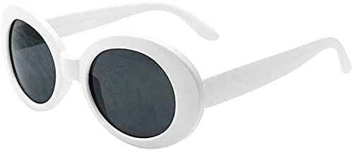 White Oval Round Sunglasses Thick Bold Retro Clout Goggles (White, Smoke), Large