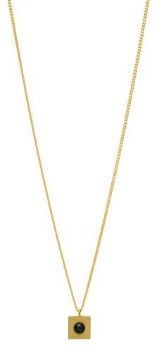 Kurze Halskette Louise Kragh mit Quadrat und Porzellanperle - Sterlingsilber (Gold Black)