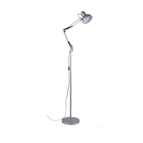 LWF-Luces de Piso Lámpara de pie LED Dormitorio Sala de Estar Estudio Vertical Hierro Forjado Moderna Lámpara de Belleza Creativa Botón de Plata Interruptor 12W Luz cálida