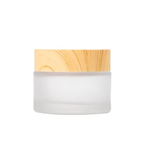 Nicejoy Tarros de vidrio rellenables con forros y tapas de bambú ambientales de vidrio esmerilado para botellas de crema tarros cosméticos Comtainer (50 ml)