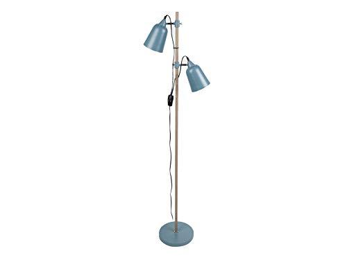 LEITMOTIV vloerlamp Wood-like 2 tinten metalen jeans blauw
