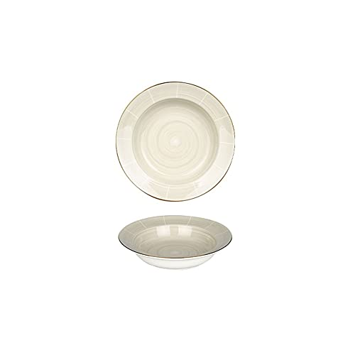 plate Ceramic Dinner Plates 7.87inch Gold Rim Hat Shape Household Plates for Pasta Steak and Appetized Plates, Ideal for Microwave Oven and Dishwasher Safe Dinner plate (Color : B, Size : 7.87INCH)