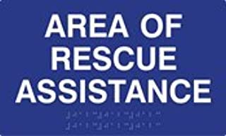 ADA Compliant Area Of Rescue Assistance Signs with Tactile Text and Grade 2 Braille - 10x6