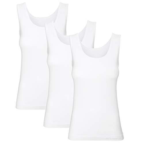 BRUBECK Damen Tanktop weiß 3er Pack | ärmelloses Oberteil für Frauen | weißes modisches Achselhemd | Womens Tank Top Seamless | Achseltop | 55% Baumwolle | Gr. XL, White | TA00510A