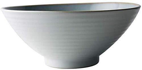 Cuenco de cerámica para merienda, cuenco de cerámica japonés, cuenco de cerámica, blanco y negro bicolor de 20 cm, cuenco de vajilla, ensalada, comida, cocina, restaurante regalo (color: B)