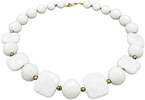 Collar de Agata Blanca y Pyrite Dorada, Joyas Artesanales, Estilo Clasico, Regalo para Mujeres