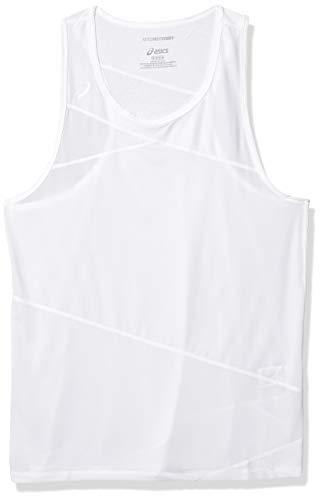 ASICS Camiseta sin mangas Gunlap para hombre, Hombre, Camiseta de tirantes anchos, #REF!, Blanco/Blanco, XXL