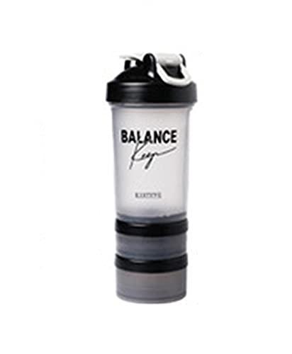 SR.CRANE Shaker in plastica per il fitness e lo shaker per lo sport, con 2 bicchieri a vite sul fondo, adatto per sacchetti per polvere e capsule (modello A)