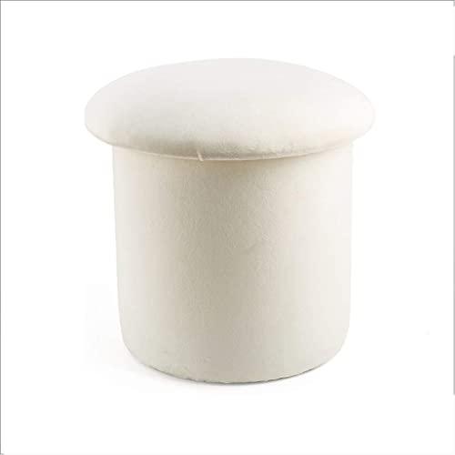 Taburete de almacenamiento con memoria y diseño de champiñones, franela nórdica, decoración de sala de estar, sofá, reposapiés (color: blanco tamaño: grande)