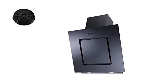 respekta Dunstabzugshaube Schräghaube kopffrei schwarz 60 cm + Filter Umluftset