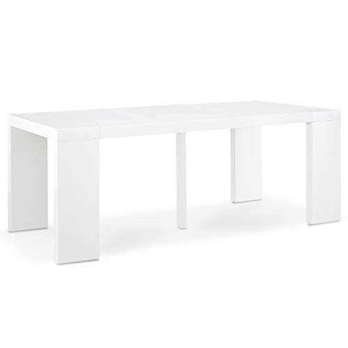 INTENSEDECO Table Console Extensible Oxalys Blanc Laquée