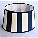 Lampenschirm, Chintz. oval, Balkenstreifen marine-blau/creme Du=20 / H=12cm / Do=15cm Befestigung unten E27 (optional lieferbar Reduzierring auf E14)