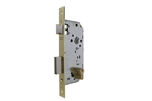 Tesa Assa Abloy 203050HL Cerradura de Embutir para Puertas de Madera, 50 mm, Latonado