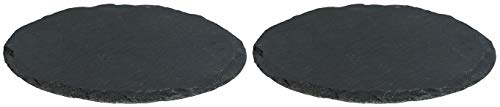 Novaliv 2X Schieferplatten I rund I 33x0,5 cm I Schiefer Platten Schieferteller Servierteller Servierplatten Schiefer Teller Set