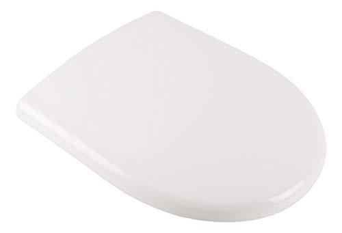 Calmwaters® Antibakterieller WC Sitz für Renova Nr. 1 mit Absenkautomatik, überlappende D-Form, rostfreie Edelstahl-Befestigung, Duroplast, Weiß - 26ZZ3550