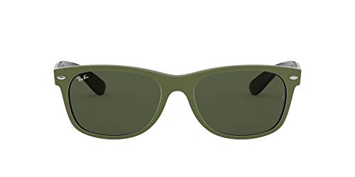 RB2132 New Wayfarer Sunglasses, Top Rubber Military GREEN ON Black/Green, 55 mm