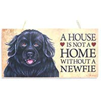 A House is Not A Home Without A Newfie (Newfoundland) 10 X 5 Plaque Sign Decor Wooden Hanging Wall Sign 829618