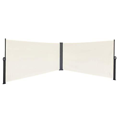 SVITA - Toldo lateral doble, protección solar, extensible, 600 x 160 cm, color beige