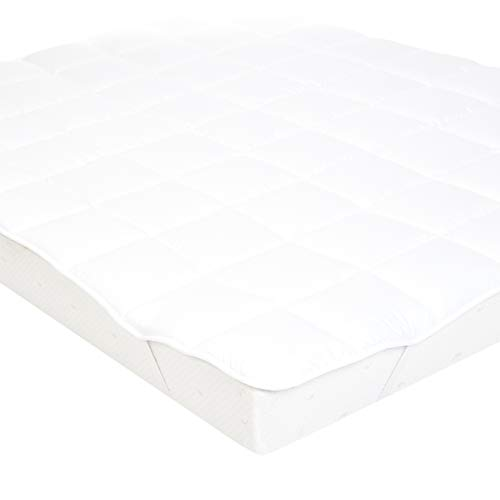 AmazonBasics Soft Mattress Topper with Microfiber-Polyester Filling and Straps, 180 x 200 cm, White