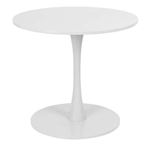 Ausla Mesa de comedor, mesa auxiliar, mesa auxiliar, mesa de salón, mesa de café, mesa de té redonda de hierro y MDF, diámetro de 80 cm, para 2 a 4 personas (blanco)