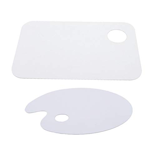 menolana 2X Oval Square Artist Paint Pallet Painting Tray Palettes Mixing for Artist Kids