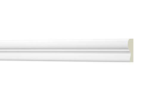 2 Meter Flachleiste 25x15mm - Stuckleiste aus PU glatt, weiß, stoßfest - AD411 Hexim Perfect - Flachprofil Dekorleiste Wandleiste Zierprofile