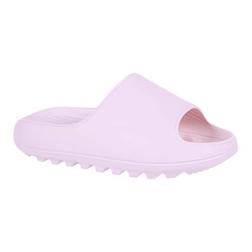 Platform Pillow Slide Sandals for Men Women Lightweight Open Toe Shower Shoes, Pink