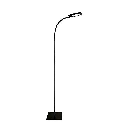 LED Stehlampe Moderne Leselampe Dimmbare Schwanenhals Stehleuchte, 3 Farbtemperaturen und 5 Helligkeitsstufen, Lange Lebensdauer Touch Steuerung Standleuchte für Wohnzimmer Schlafzimmer Büro, Schwarz
