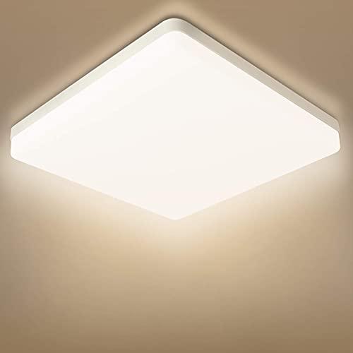 Combuh Plafoniera LED Impermeabile IP56 20W 1600Lm Lampada da Soffitto per Cucina, Bagno, Ufficio, Portico, Esterno, Garage Bianco Naturale 4000K Piazza 20 * 20 * 4cm