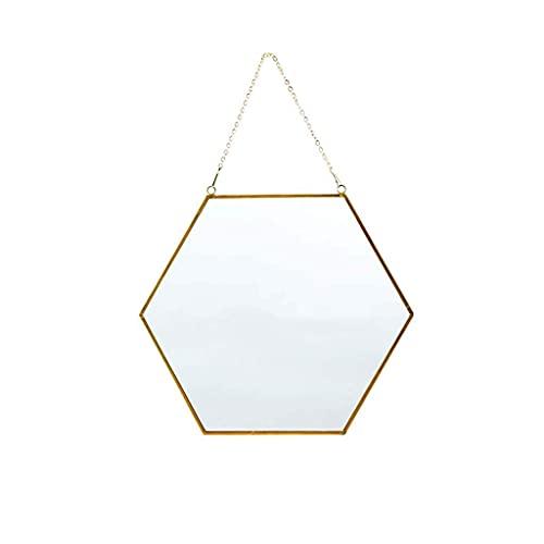 HJW Espejo de pared transparente y práctico con forma de hexágono dorado, espejo decorativo de metal para el hogar, baño, dormitorio, sala de estar, grande