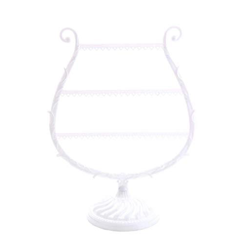 Demarkt sieraden-organizer voor oorbellen, kettingen, ringen, 24,7 x 31,6 cm, decoratieve metalen sieradenhouder 3 verdiepingen, haakjes, ringvak, sieraden, opbergen, oorbellen, standaard, kettinghouder