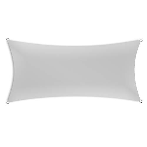 Schramm® Sonnensegel rechteckig in 4 verschiedenen Größen und 2 Farben Sonnen Segel Sonnenschutz Sichtschutz Windschutz, Farbe:grau, Größe:2.5 m x 5 m