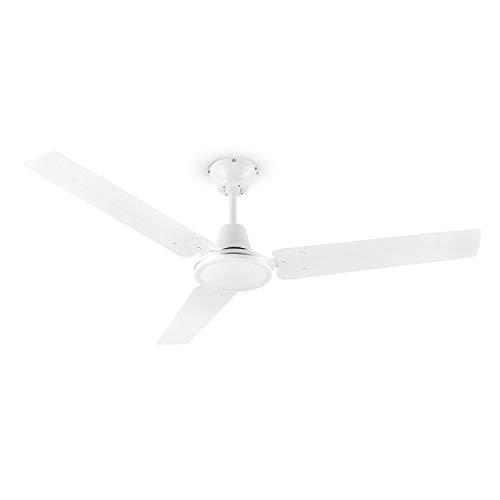 Klarstein Spin Doctor - Ventilador de techo, 3 aspas, Diámetro de 48' / 122 cm, Caudal de 9963 m³/h, Potencia 56 W, 3 velocidades, Control independiente en la pared, Acero inoxidable, Blanco floral