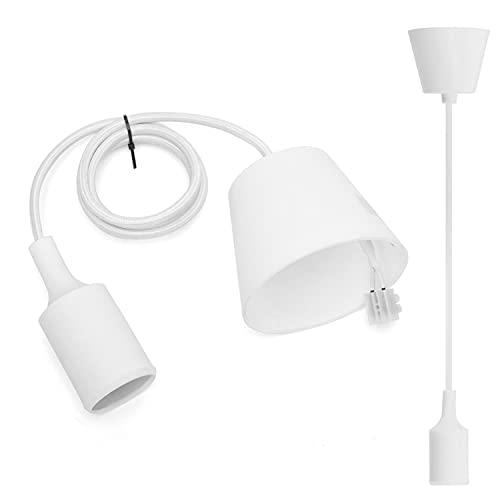 Aigostar Portalámparas Colgante de Plástico E27,Cable Ajustable,1M,En Línea Con Los Estándares Europeos,Blanco