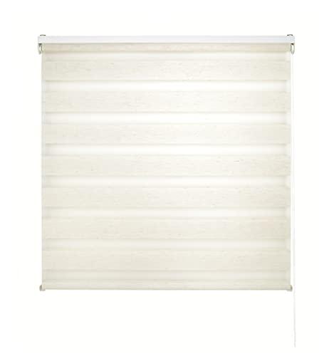 Blindecor LIRA - Estor enrollable de doble capa Noche y Día, Beige (Lino), 120 x 180 cm, ancho x largo