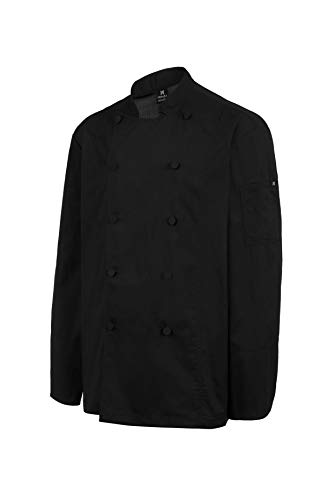 Chaquetilla Cocinero Hombre de Manga Larga con botón Forrado. Ropa Cocina/Hostelería. Color Negro. Talla M. Ref: 4118