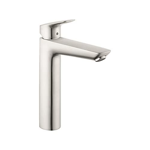 hansgrohe Logis Modern Low Flow Water Saving 1-Handle 1 10-inch Tall Bathroom Sink Faucet in Brushed Nickel, 71090821