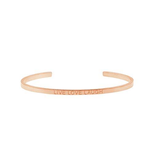 Heideman Armband Damen mit Gravur Freundschaftsarmband aus Edelstahl Rosegold farbend matt Armkette für Frauen mit Spruch LIVE Love Laugh Länge einstellbar