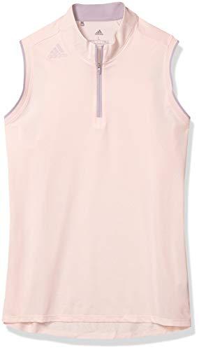 adidas Golf Gradient Zip Sleeveless Polo Shirt, Pink Tint, Large