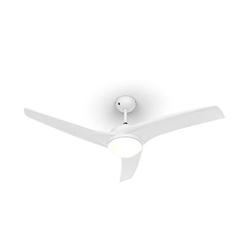 Klarstein Figo - Ventilatore da Soffitto, 2in1: Ventilatore & Lampadario, Diametro: 52  (132 cm), 3 Pale, Flusso: 10.039 m³ h, 2 Direzioni di Rotazione, 3 Velocità, Silenzioso, Bianco