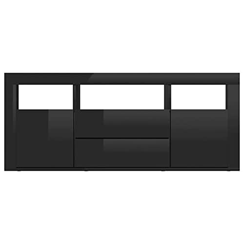 Tidyard Mueble para TV con 2 Cajones 2 Puertas y 3 Compartimentos Abiertos Mueble de Salon Moderno Aparador Armario de Almacenaje Aglomerado Negro Brillante 120x30x50 cm