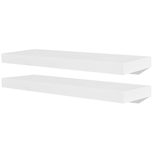 vidaXL 2X Estantes Exhibidores Flotantes Tablero DM Blanco Baldas Libros DVD