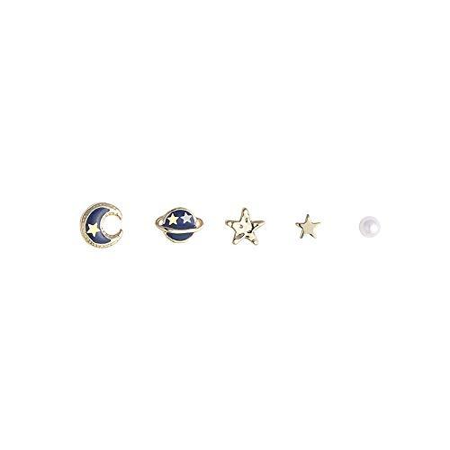 BEAUTYLEE s925 Pendientes de Plata, Planeta Azul, Luna cósmica, combinación de Pendientes de Perlas de Estrella, Accesorios para Mujer