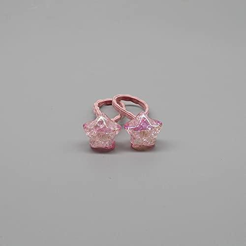 XKMY 2 lazos elásticos para el pelo para niñas con diseño de conejo, estrella, princesa, diadema, diademas elásticas para el pelo para niñas, chispas, mini tocado de goma (color: rosa estrella)