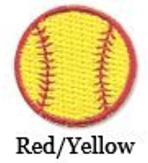 Iron on Softball Patch Red/yellow 10-pack